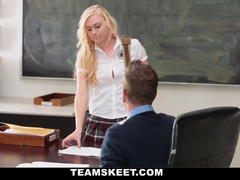 Blonde is passing exams by sucking teacher's cock