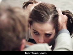 Strong dude is making teen chick to choke on his dick