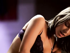 Beautiful brunette chick hotly fucks in hot poses