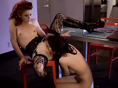 Slutty hot redhead lesbian loves rude sex actions