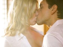Dude excites blonde babe in kitchen and fucks her in bedroom