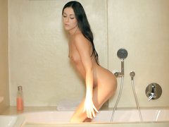 Brunette passionately fucks after taking shower