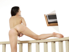 Charming sexy brunette excitingly poses nude