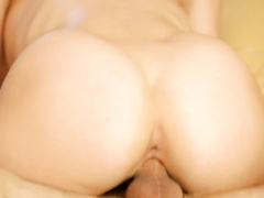 Sweet boobed and jelly assed brunette pleasantly rides fucker's dick