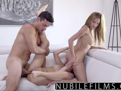 Brunet guy with hot body is getting excited by two chicks at once