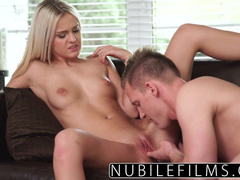 Beauty blonde hotly excites boyfriend with tight blowjob