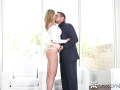 Busty blonde Brooke Wylde hotly kisses her boyfriend before fucking him