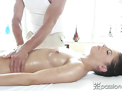 Sexy assed brunette girl Adriana Chechik got pleased with anal fuck by masseur