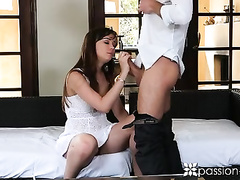 Brunette girl in sexy white dress got seduced to fuck hard and sucked big dick